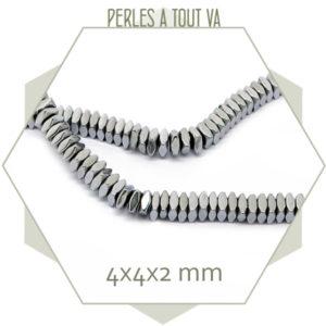 102 perles intercalaires polygones hématite argentée