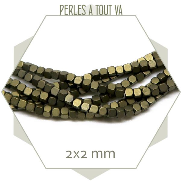 190 perles polygones 2 mm en hématite bronze mat