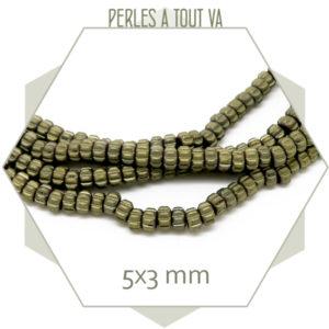 128 perles donut en hématite bronze mat
