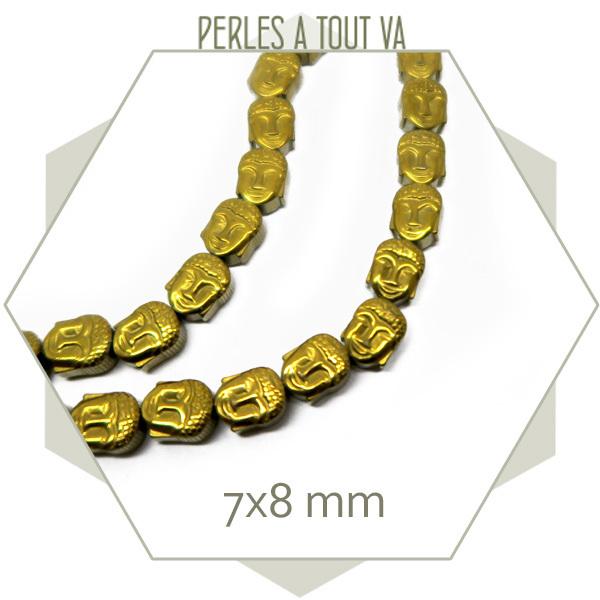 16 perles bouddha en hématite doré métallisé