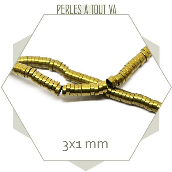 400 perles rondelles en hématite doré métallisé