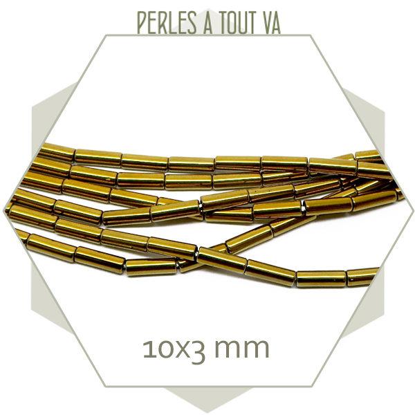 40 perles tubes en hématite métallisé doré