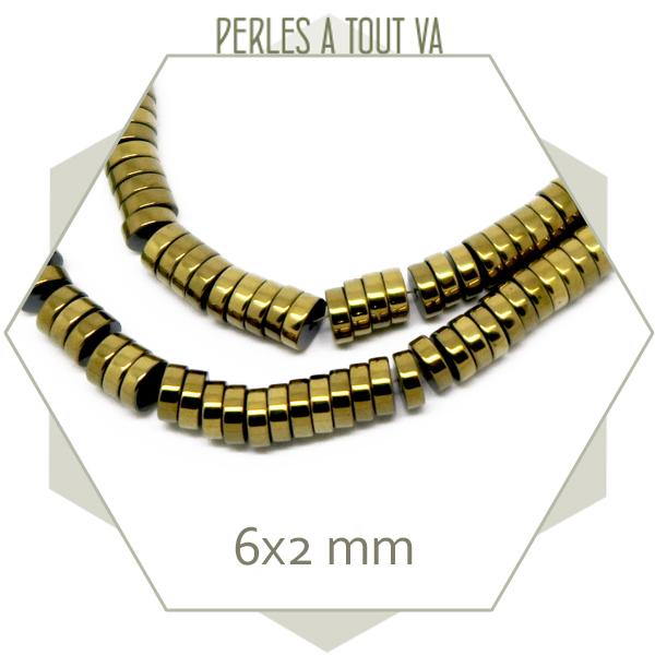 190 perles rondelles en hématite doré clair métallisé, 6x2 mm