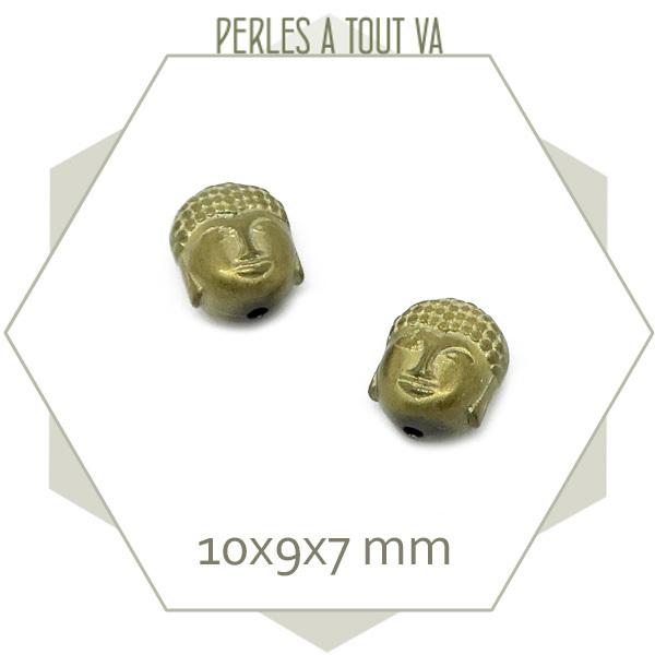 10 perles bouddha en hématite bronze mat
