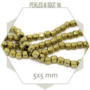 75 perles à facettes en hématite doré métallisé