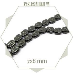 16 perles bouddha en hématite gris anthracite
