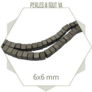 77 perles cubes en hématite gris anthracite mat
