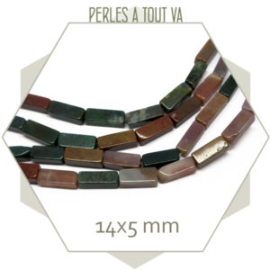 30 perles rectangle d'agate indienne 14x5 mm