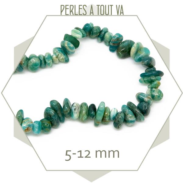 40 cm de perles chips d'agate, nuances bleu vert