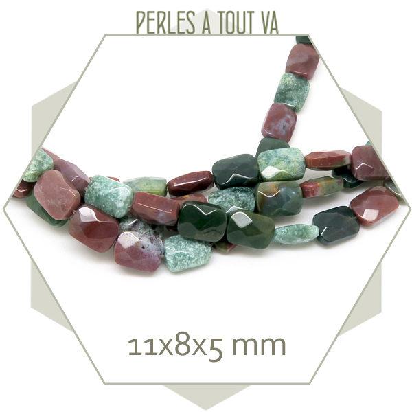 18 perles rectangle à facettes en agate indienne