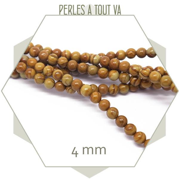 80 perles rondes 4 mm en grain stone brillant