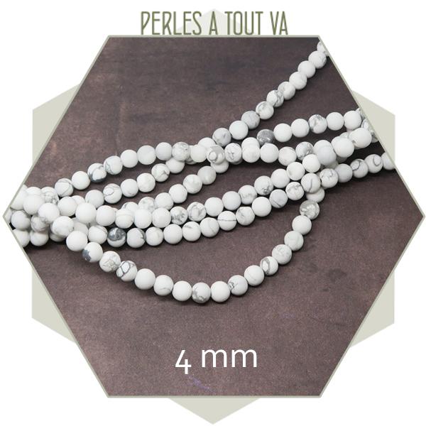 80 perles howlite blanche ronde 4 mm, pierre naturelle
