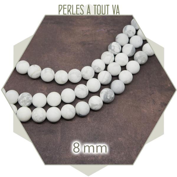 45 perles howlite blanche ronde 8 mm, mat