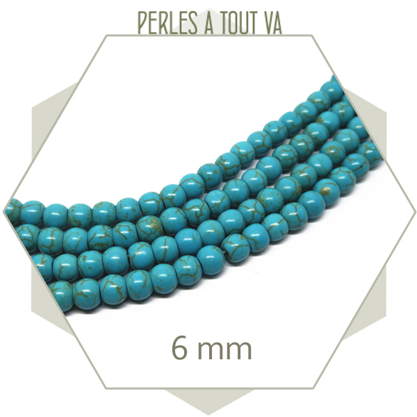 65 perles rondes 6 mm howlite turquoise