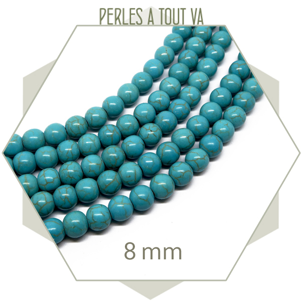 48 perles rondes 8 mm howlite turquoise