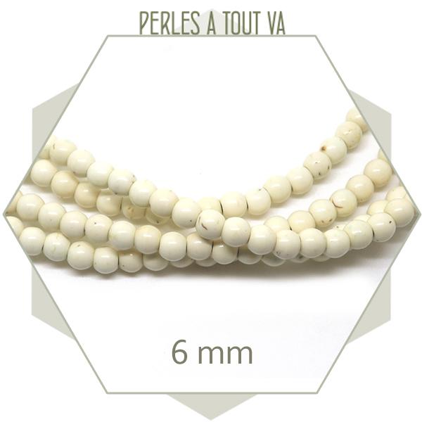 75 perles rondes 6 mm howlite couleur ivoire