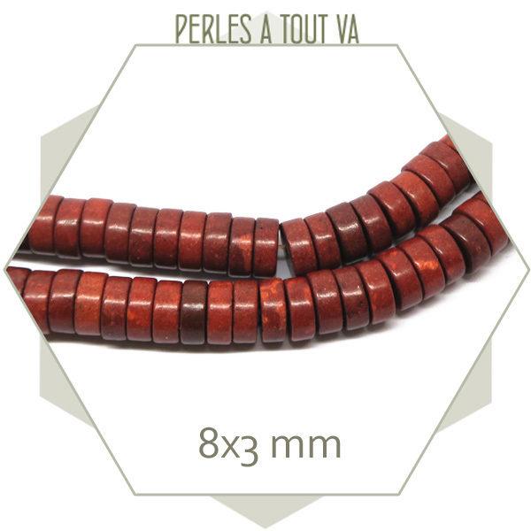105 perles disques de howlite brun cuivré