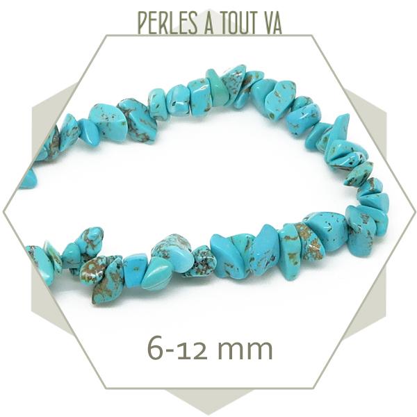 40 cm de perles chips en howlite, turquoise