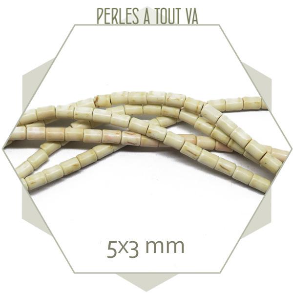98 perles tube 5x3mm howlite ivoire