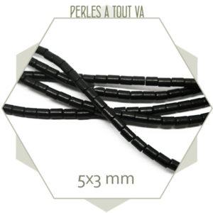 98 perles tube 5x3mm howlite noire
