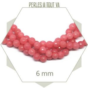 48 perles jade ronde à facettes 6mm rose corail
