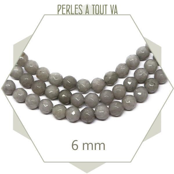 48 perles jade ronde à facettes 6mm gris clair