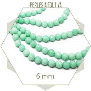 58 perles jade ronde à facettes 6mm vert d'eau