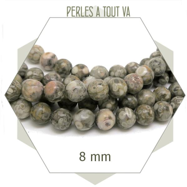 48 perles de Maifan rondes 8 mm, pierre naturelle