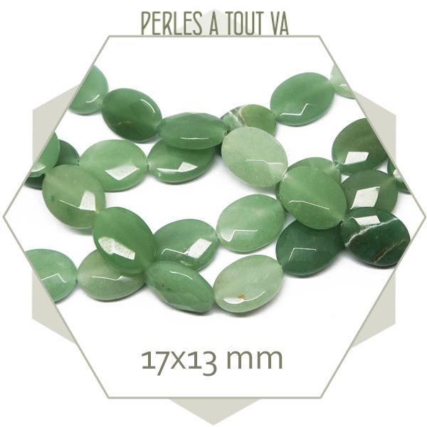 13 perles à facettes, plates ovales, quartz aventurine vert