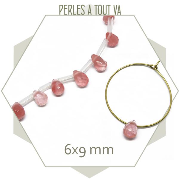 """12 perles gouttes à facettes quartz rose """"cherry"""""""