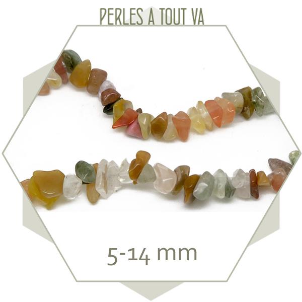 40 cm de perles chips en quartz, nuances d'ocre