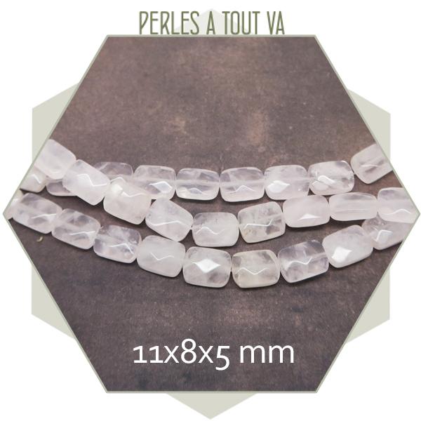 18 perles rectangle à facettes en quartz rose