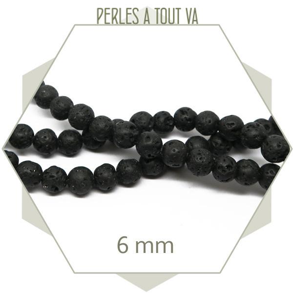 62 perles rondes en pierre de lave noire, 6 mm