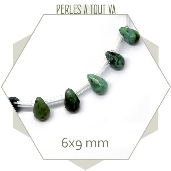 12 perles gouttes à facettes en turquoise africaine