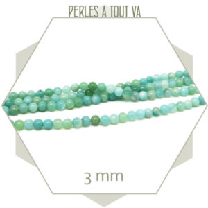 Lot de 124 perles d''amazonite, 3 mm