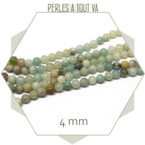 Rang de 90 perles d''amazonite lisse, 4 mm