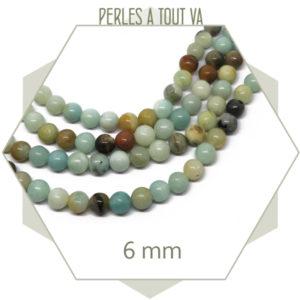 Rang de 60 perles d''amazonite lisse, 6 mm