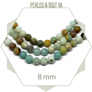Rang de 45 perles d''amazonite lisse, 8 mm