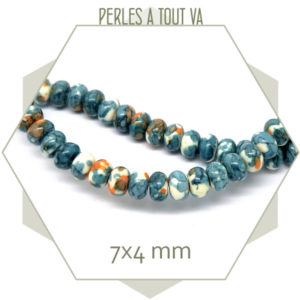 95 perles rondes aplaties en faïence, façon aquarelle, bleues