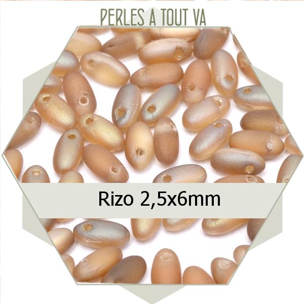 perles Rizo, beige rosé mat ombré 8g, perles de verre Tchèque