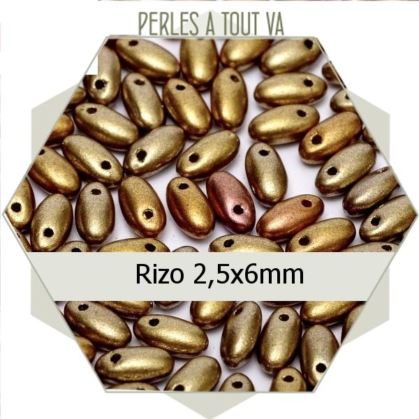 perles Rizo, métallisée opaque mat 8g, perles de verre Tchèque