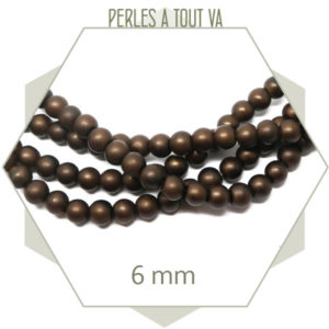 120perles de verre rondes 6 mm marron café