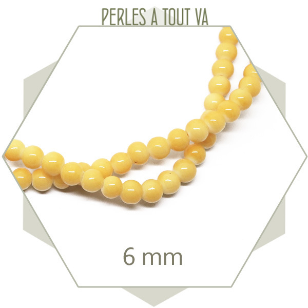120 perles de verre rondes 6 mm orange clair