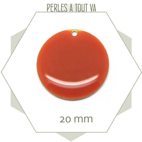 4 sequins émaillés orange foncé 20mm ronds, breloques pour création de bijoux