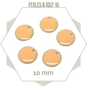 6 sequins émaillés nude ronds 10 mm