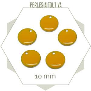 6 sequins émaillés jaune foncé ronds 10 mm