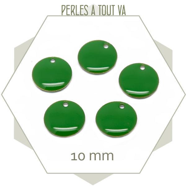 6 sequins émaillés vert ronds 10 mm