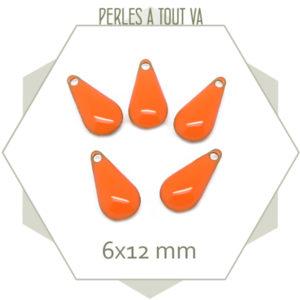 6 sequins gouttes émaillés orange