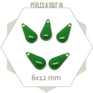 6 sequins gouttes émaillés vert
