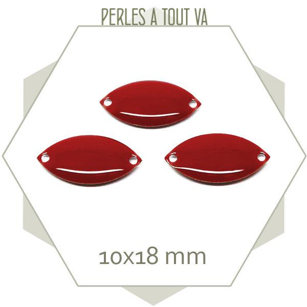 6 navettes émaillées 10x18mm rouge foncé 2 trous